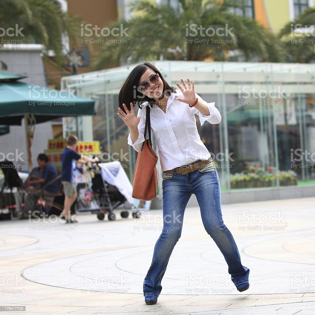 Happy beauty in downtown royalty-free stock photo