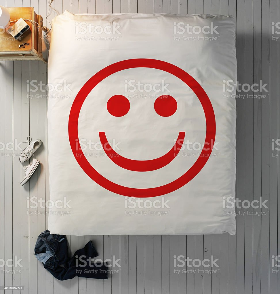 happy bed stock photo