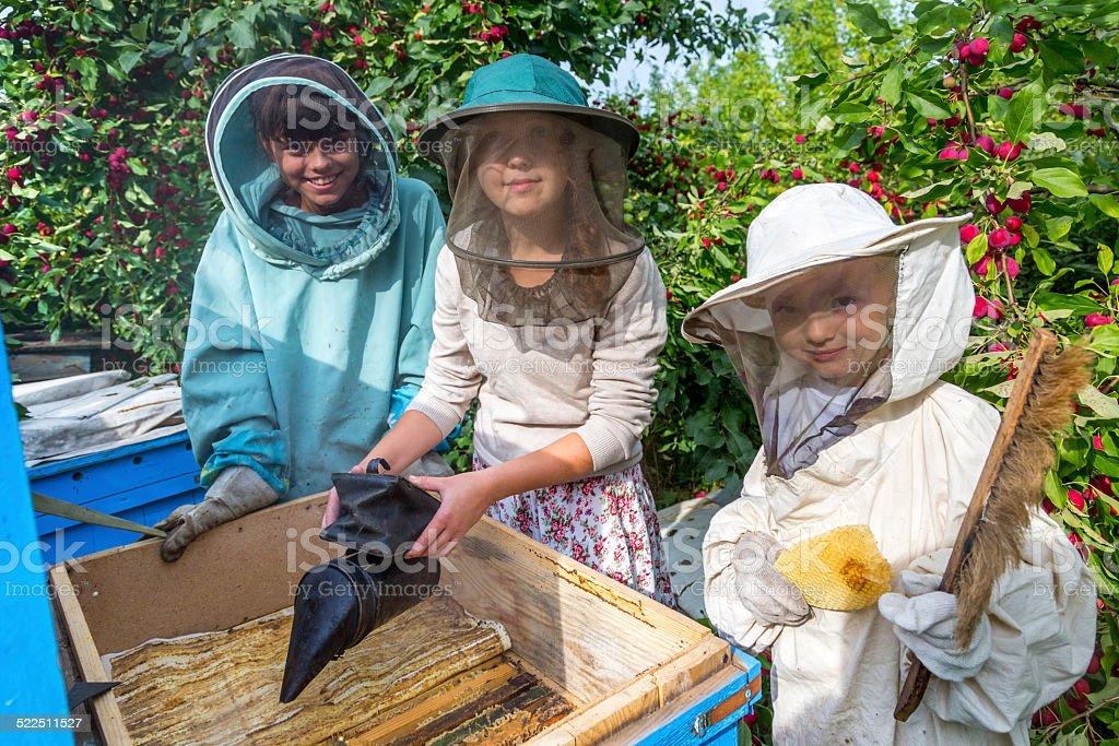 Happy beekeepers stock photo