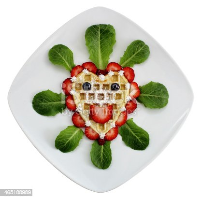 istock Happy Berry Waffle Heart On Plate 465188989