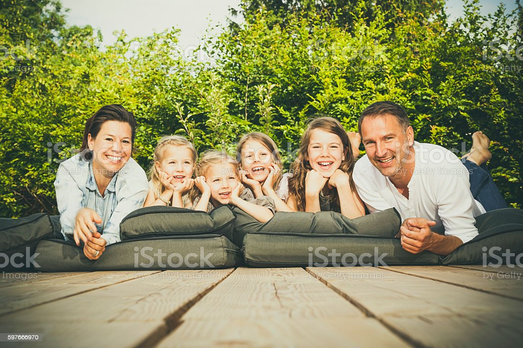 happy big family stock photo