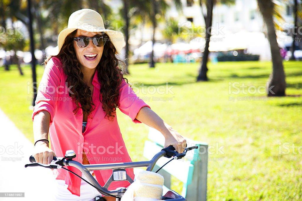 Happy Bike Woman royalty-free stock photo