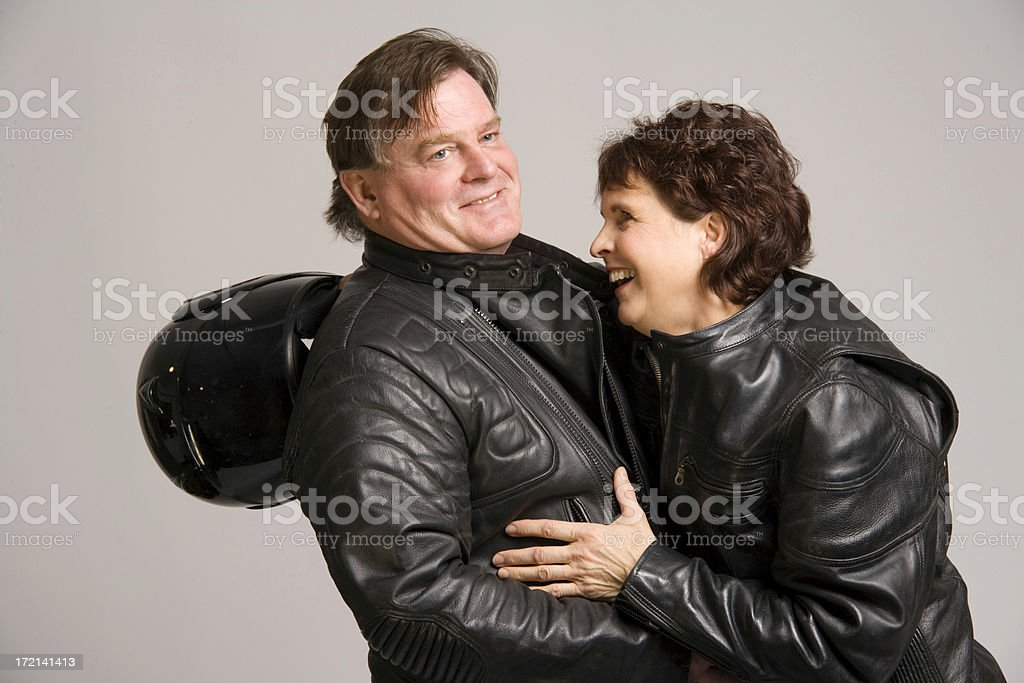 Happy biker couple stock photo