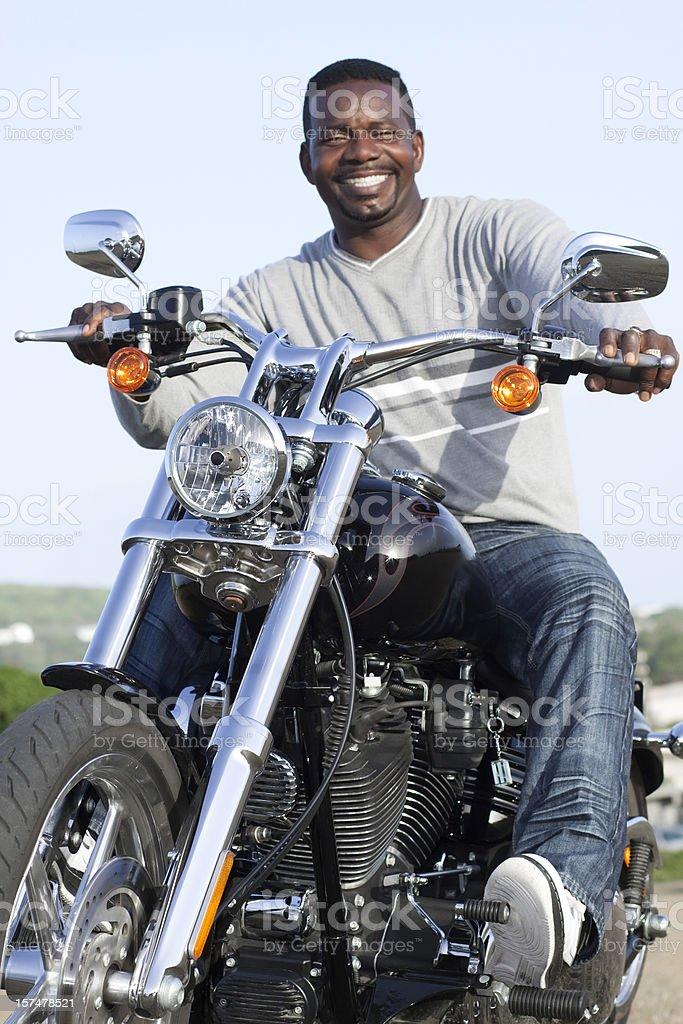 happy biker stock photo