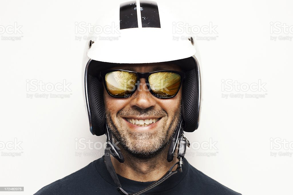 Happy biker stock photo