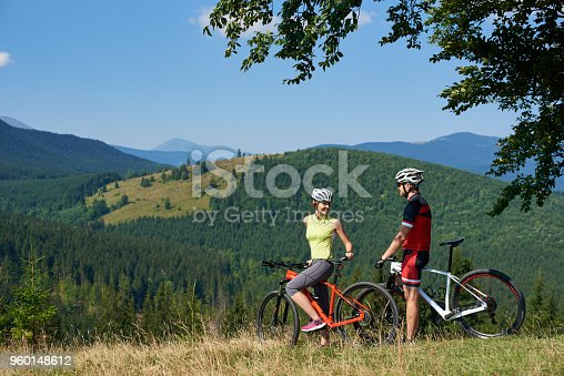 istock Happy bikers couple, man and woman standing with bikes on grassy hill under big green tree branch 960148612