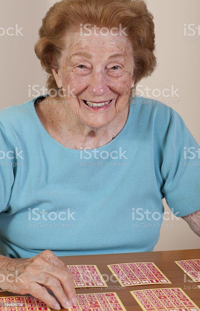 Happy Bingo player stock photo