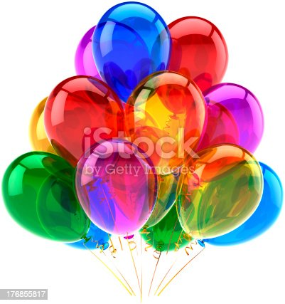 istock Happy birhtday party balloons decoration classic multicolored 176855817