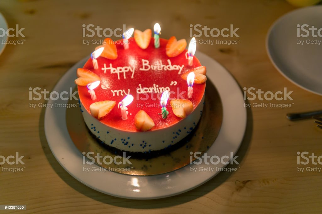 Happy Birth Day Blueberry Cheese Cake For Lover Or Darling With