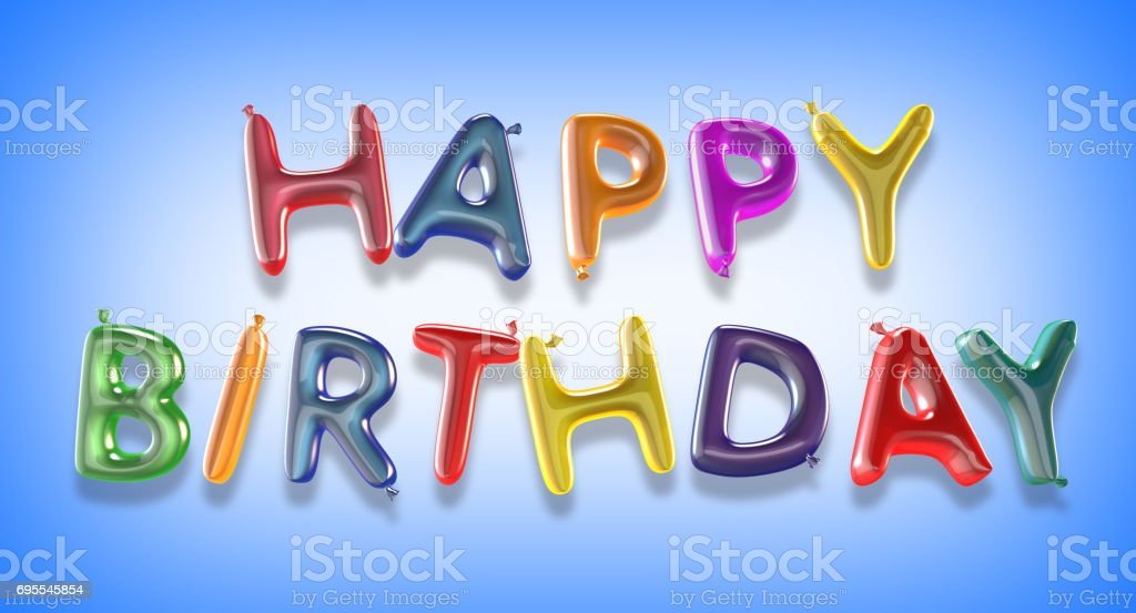 Happy birthday balloon text with clipping path stock photo