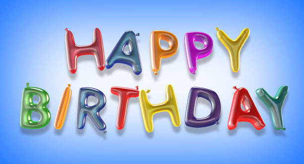 happy birthday balloon text with clipping path - happy birthday banner stock photos and pictures