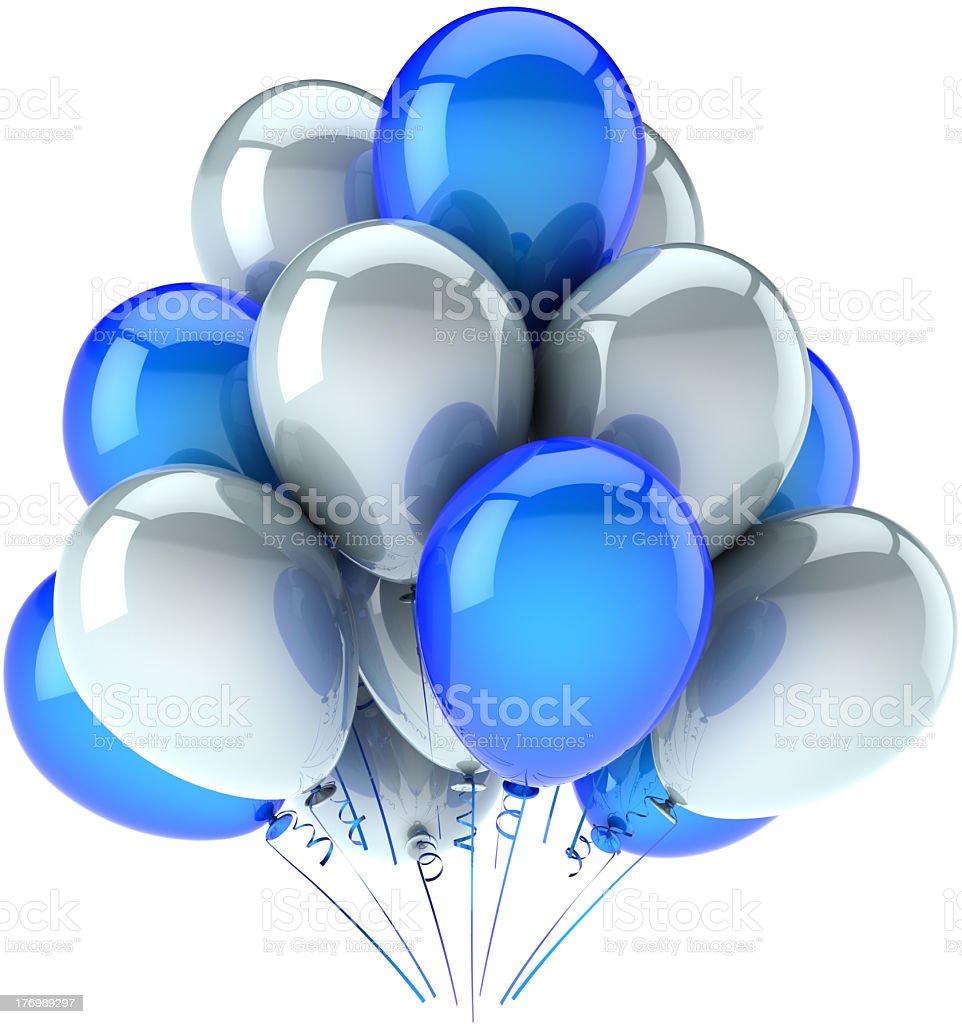 Feliz cumpleaños globos decoración clásica, azul, blanco - foto de stock