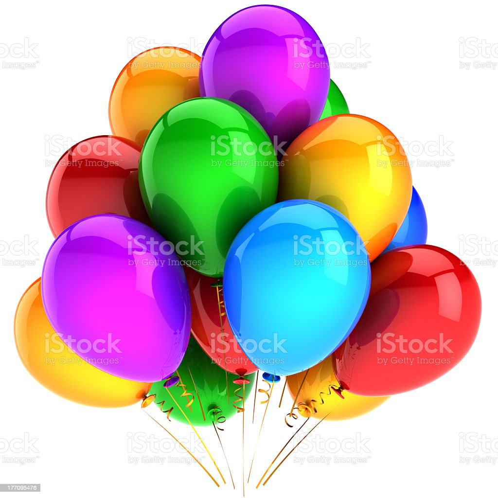 Happy birthday balloons colorful party holiday decoration multicolor royalty-free stock photo