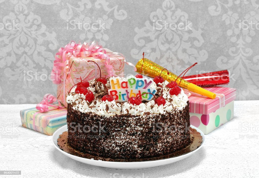 Happy Birthday Black Forest Chocolate Cake With Gifts Stock Photo