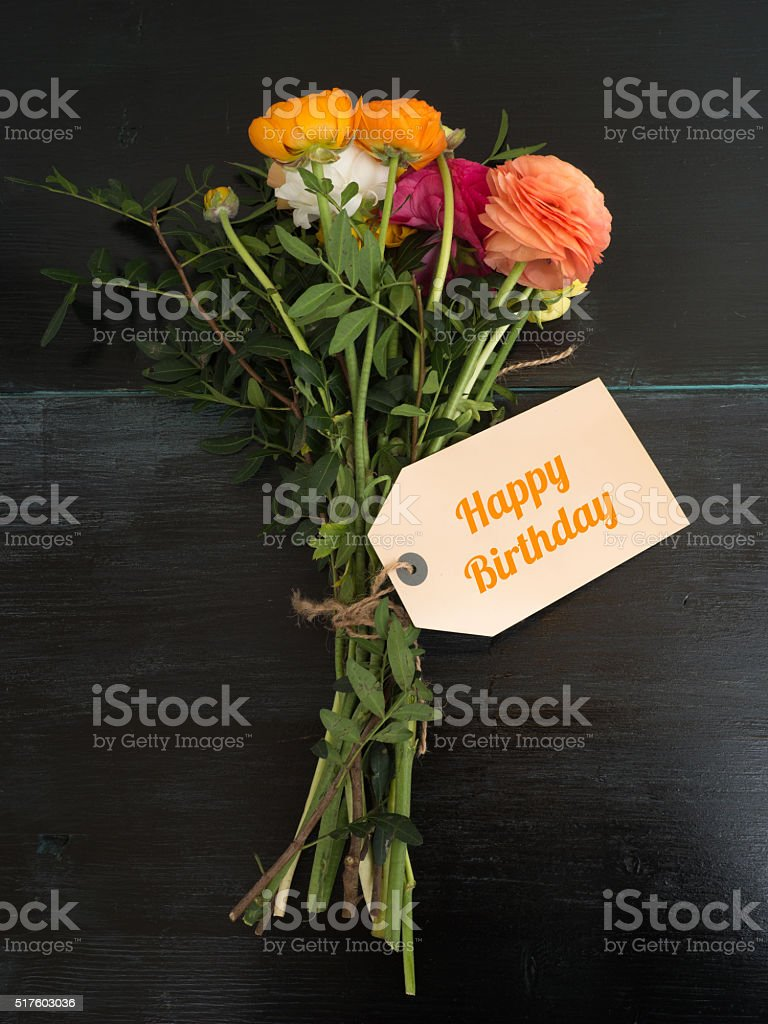 Happy Birthday Bouquet Of Flowers And A Text Message Stock Photo ...