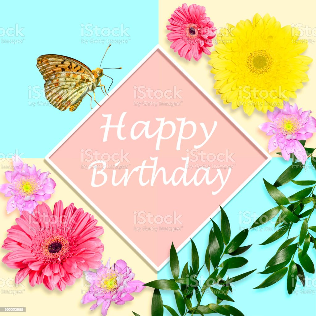 Happy birthday bright greeting card concept with flowers and happy birthday bright greeting card concept with flowers and butterfly royalty free stock photo izmirmasajfo