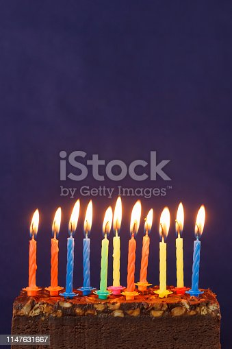 istock Happy Birthday Brownie Cake with Peanuts, Salted Caramel and Colorful Burning Candles on the Violet Background. Copy Space for Text. 1147631667