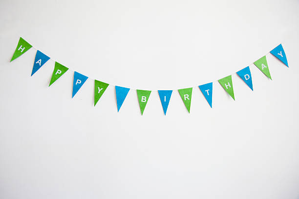 happy birthday bunting - happy birthday banner stock photos and pictures