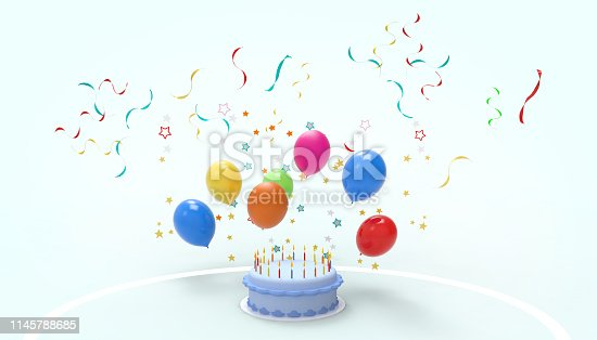 istock Happy birthday cake and Interstellar colorful Balloons contemporary on pastel Green background - 3d rendering 1145788685