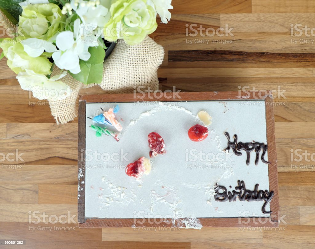 Cool Happy Birthday Cake Dirty And Empty Stock Photo Download Image Personalised Birthday Cards Petedlily Jamesorg
