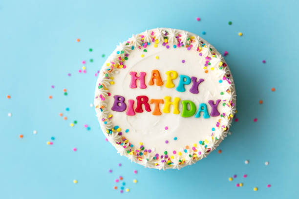 Happy birthday cake Happy birthday cake with rainbow lettering birthday cake stock pictures, royalty-free photos & images