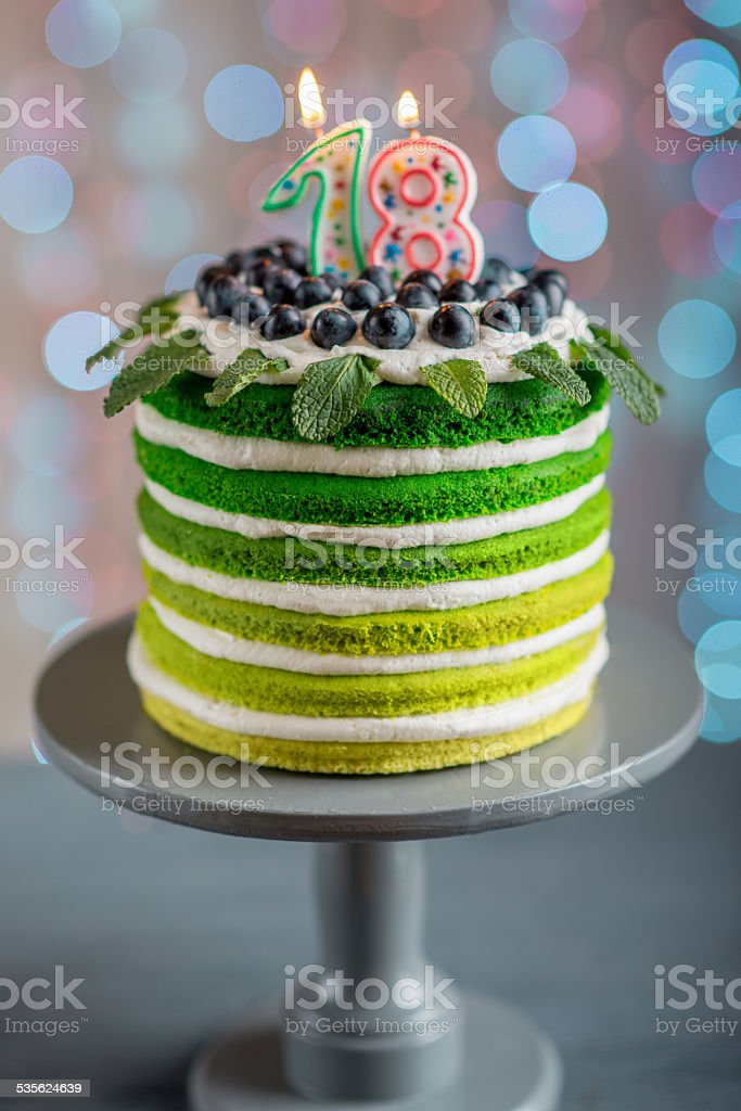 18 19 Jahre 2015 Beleuchtet Backerei Color Gradient Happy Birthday Cake Lizenzfreies