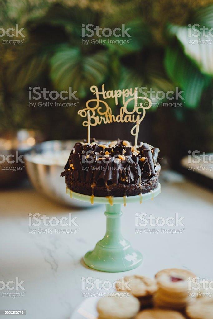 Happy Birthday Cake Top Decoration And Chocolate Cake Photos Et