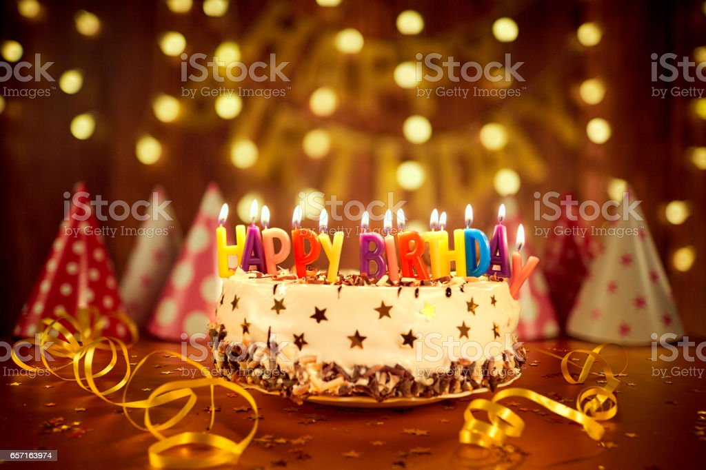 Happy Birthday Cake With Candles On The Background Of