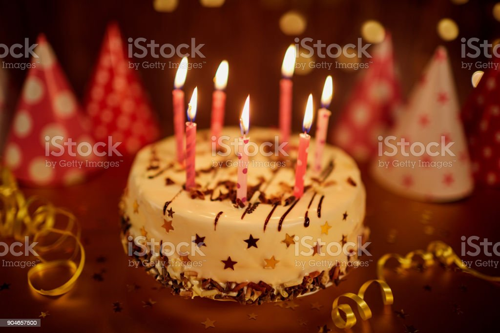Magnificent Happy Birthday Cake With Candles Stock Photo Download Image Now Personalised Birthday Cards Veneteletsinfo