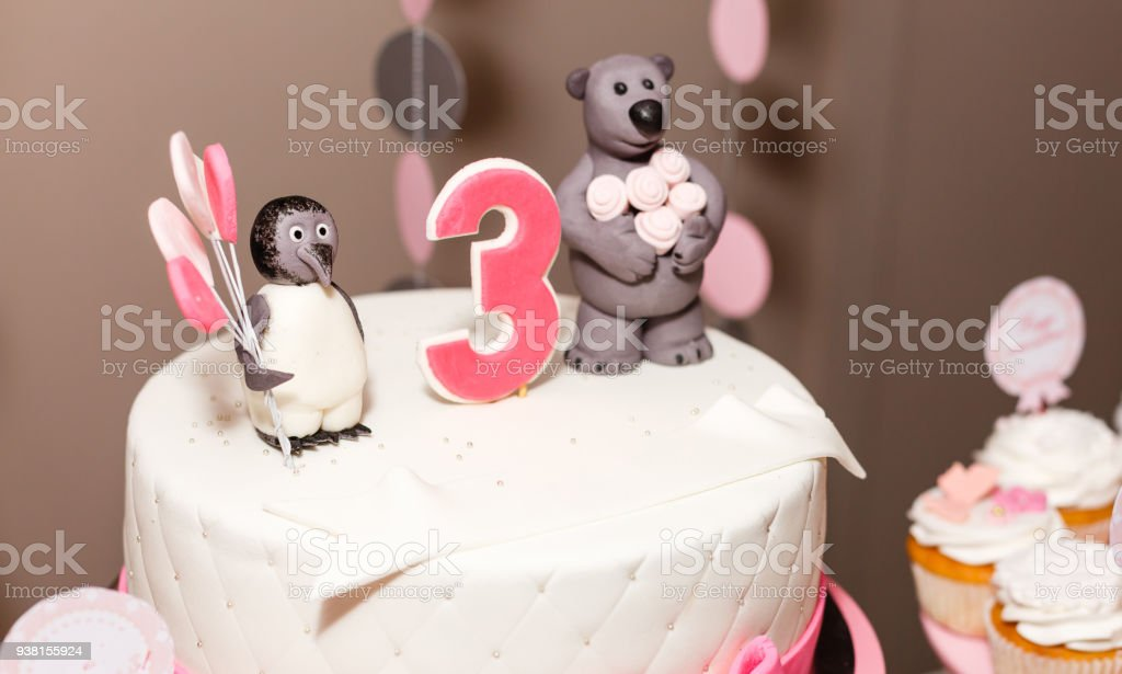 Happy Birthday Cake With Number 3 Pink On White Tabel Stock Photo
