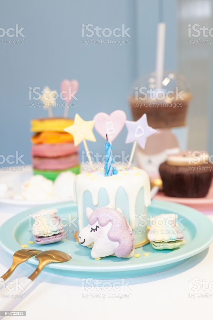 Happy Birthday Cake With Unicorn And Rainbow Macarons Fairy Tales Fantasy Party Concept