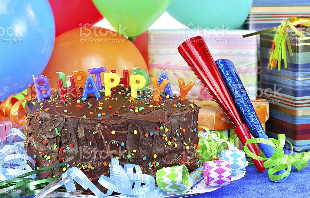 Happy Birthday Cakeballoons Gifts Royalty Free Stock Photo