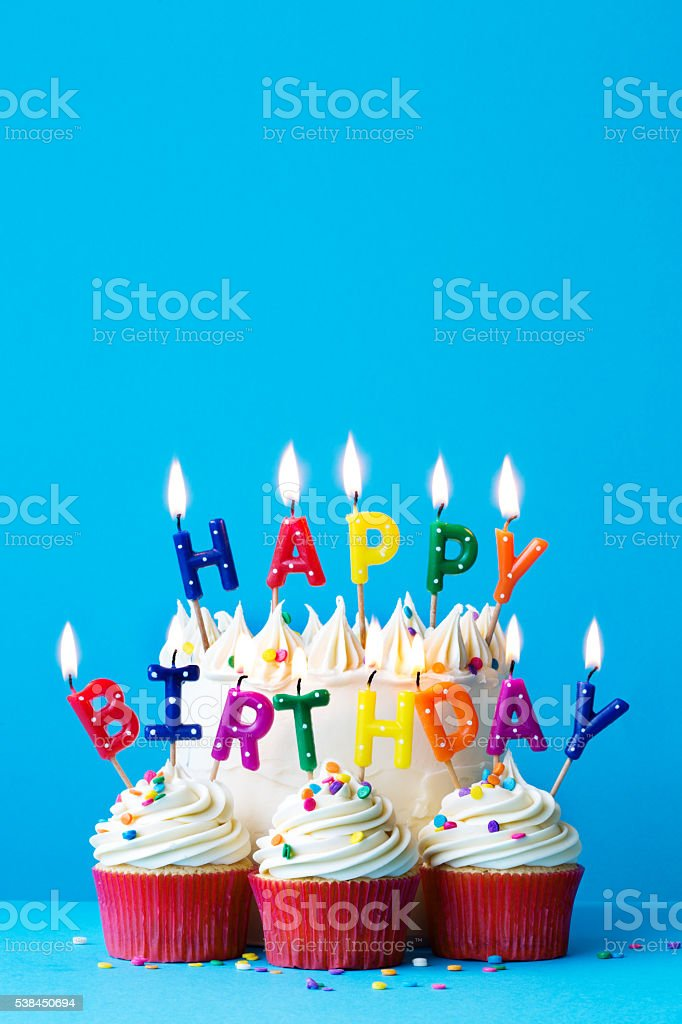 Happy birthday candles stock photo