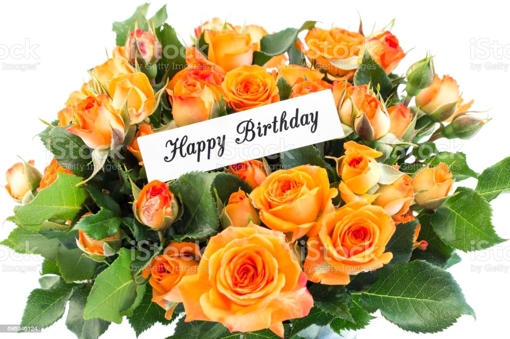 Carte De Joyeux Anniversaire Avec Bouquet De Roses Orange Photos