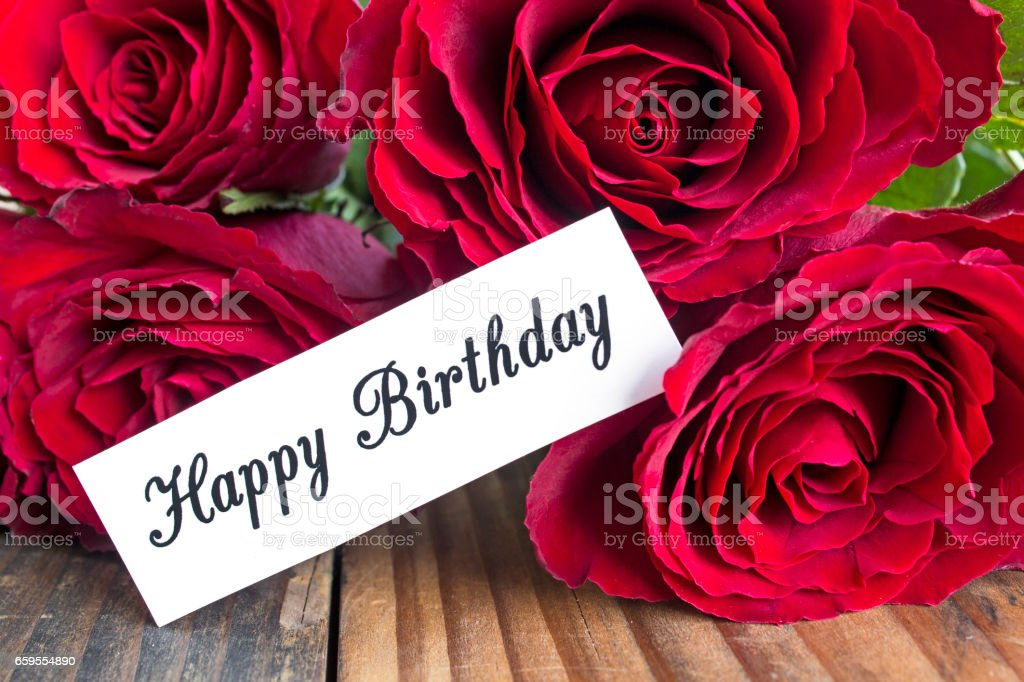 Happy Birthday Card With Bouquet Of Red Roses Lizenzfreies Stock Foto