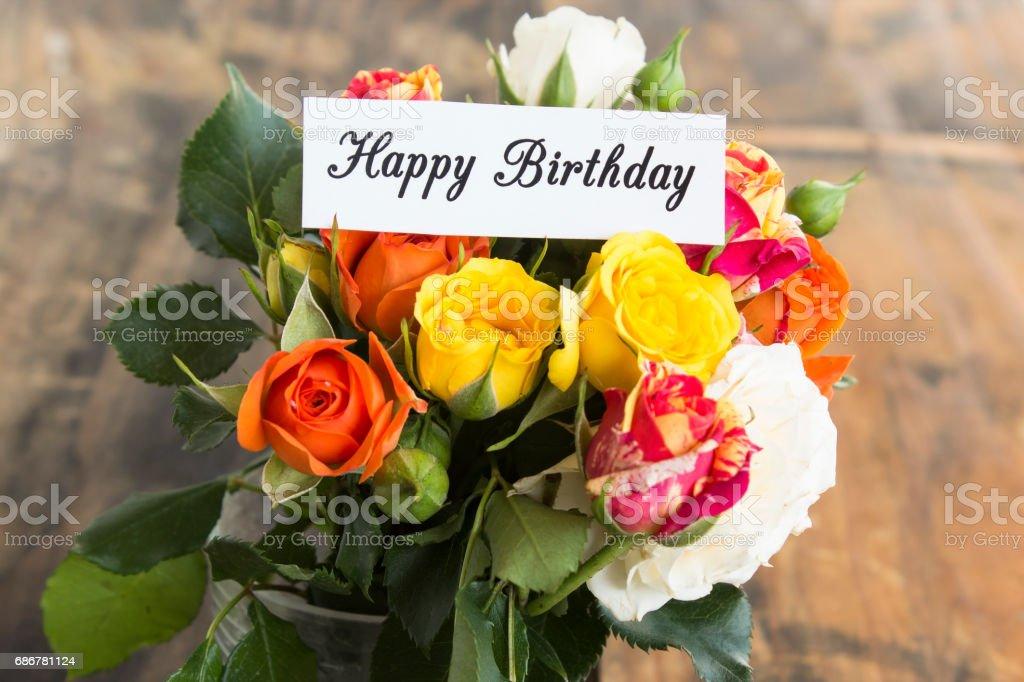 Mazzo Di Fiori Happy Birthday.Happy Birthday Card With Bouquet Of Roses Fotografie Stock E