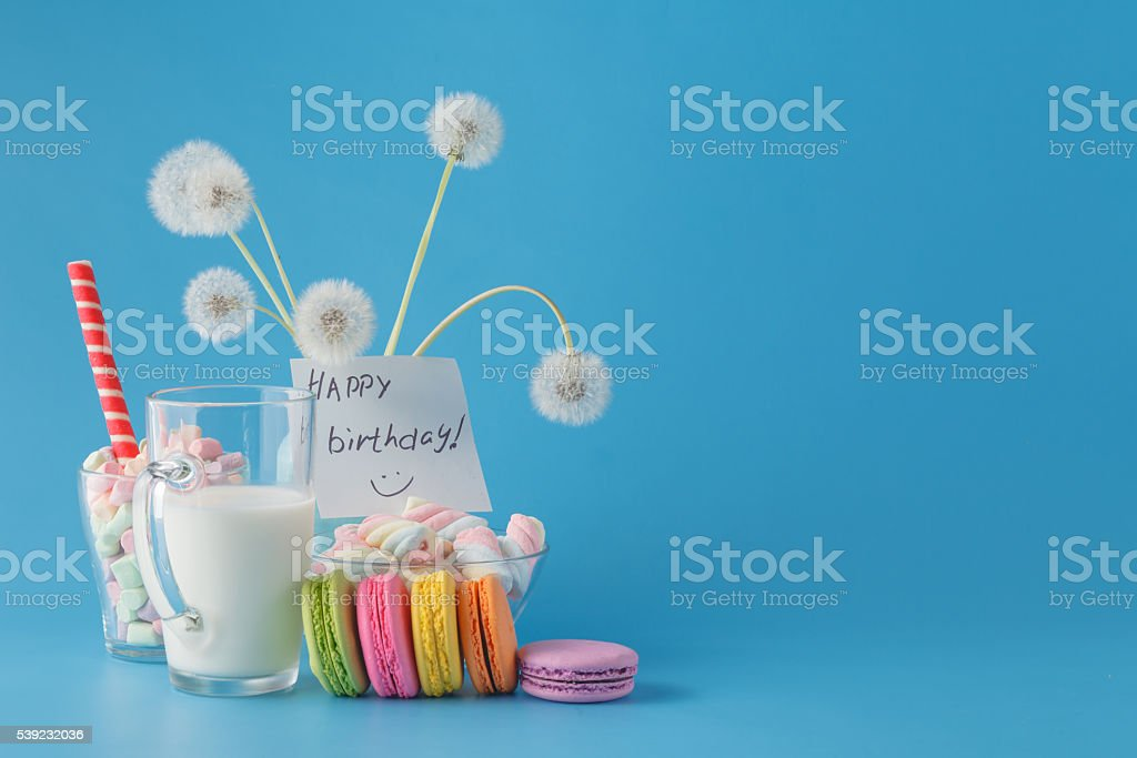 Happy birthday card with colorful macaroons royalty-free stock photo