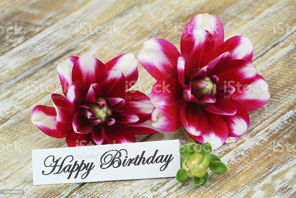 Happy Birthday Card With Dahlia Flowers Stock Photo More Pictures