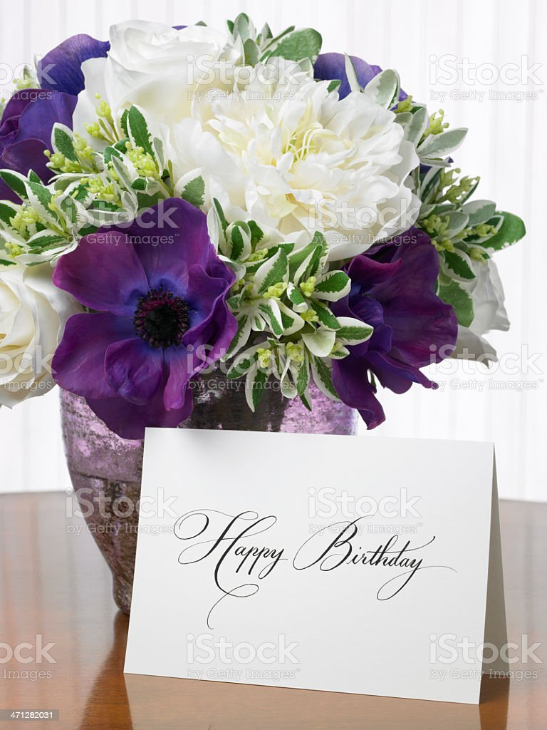 Happy birthday card with flower bouquet stock photo more pictures happy birthday card with flower bouquet royalty free stock photo izmirmasajfo Image collections