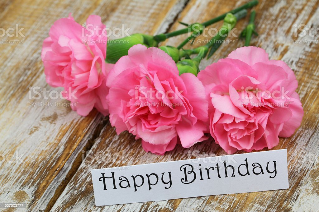 Estremamente Buon Compleanno Carta Con Fiori Rosa Garofano - Foto di Stock | iStock CS61