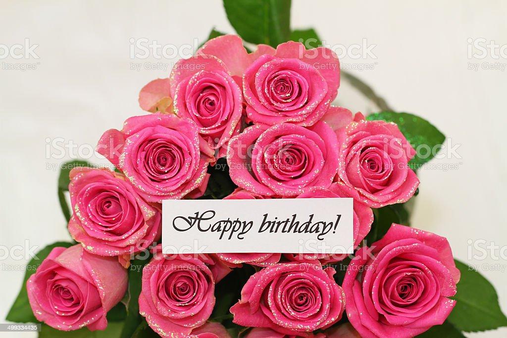 Buon Compleanno Carta Con Rose Rosa Con Glitter Fotografie Stock E