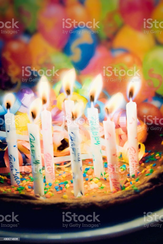 Happy Birthday Chocolate Cake With Burning Candles Stock Photo
