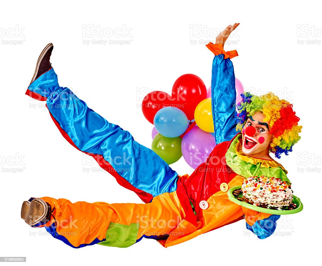 Happy birthday clown holding a bunch of balloons stock photo more happy birthday clown holding a bunch of balloons royalty free stock photo izmirmasajfo