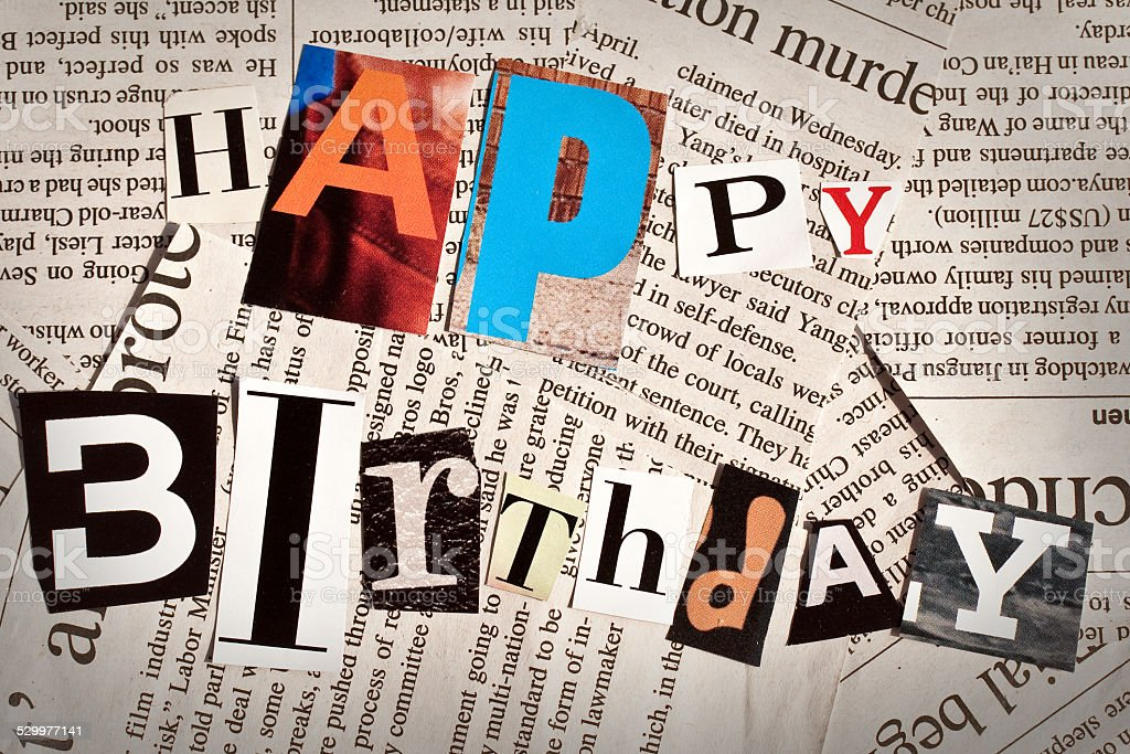 happy birthday collage with newspaper and magazine letters royalty free stock photo