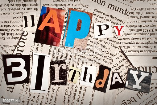 812461124istockphoto Happy birthday collage with newspaper and magazine letters 529977141