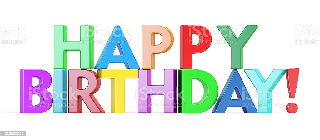 Happy Birthday Colored Inscription 3D Rendering Royalty Free Stock Photo