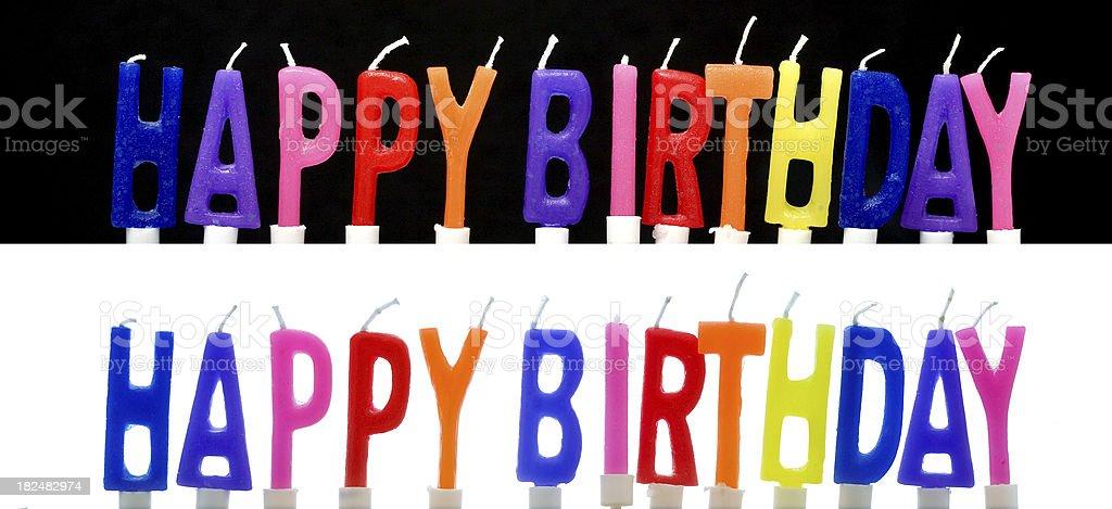 Happy Birthday bunte Kerzen, isoliert Lizenzfreies stock-foto