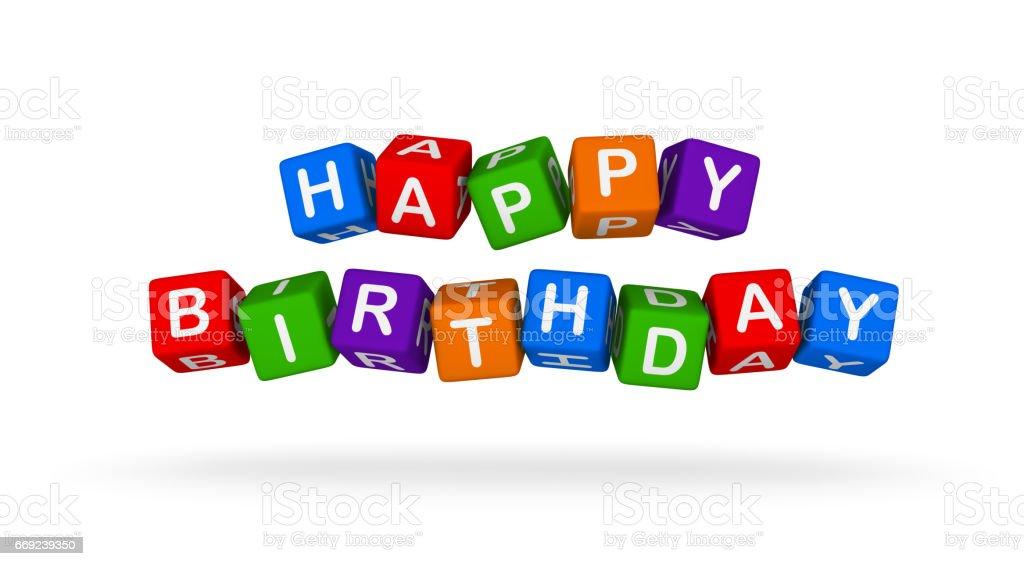 Happy Birthday. Colorful Toy Block flying on white background. stock photo