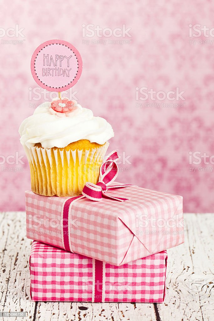 Happy Birthday Cupcake and Gifts royalty-free stock photo