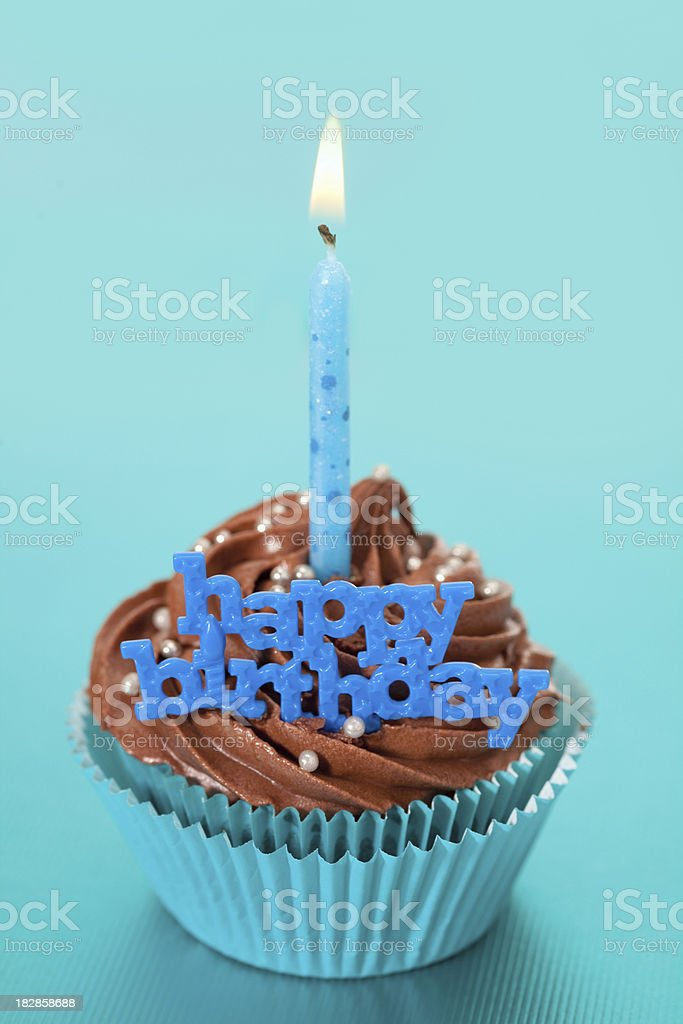 Happy Birthday Cupcake In Blue Stock Photo More Pictures of